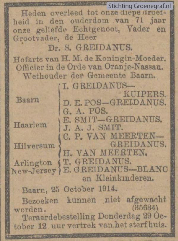 Overlijdensscan Sijtze  Greidanus