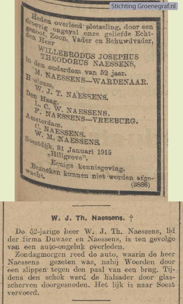 Overlijdensscan Willebrordus Josephus Theodorus  Naessens