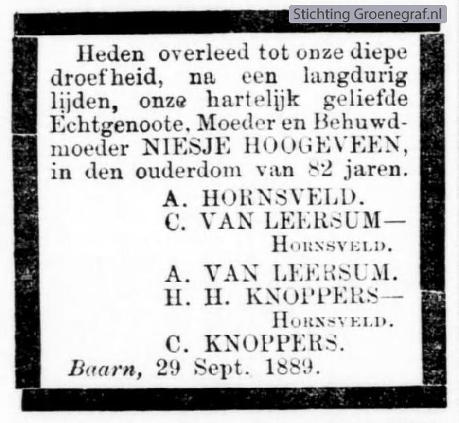 Overlijdensscan Niesje  Hoogeveen