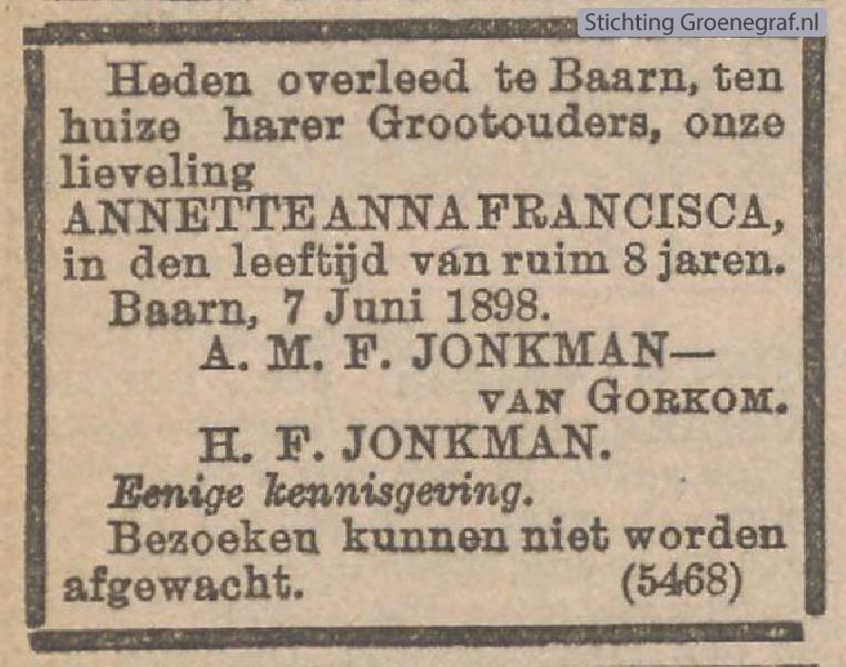 Overlijdensscan Annette Anna Francisca  Jonkman
