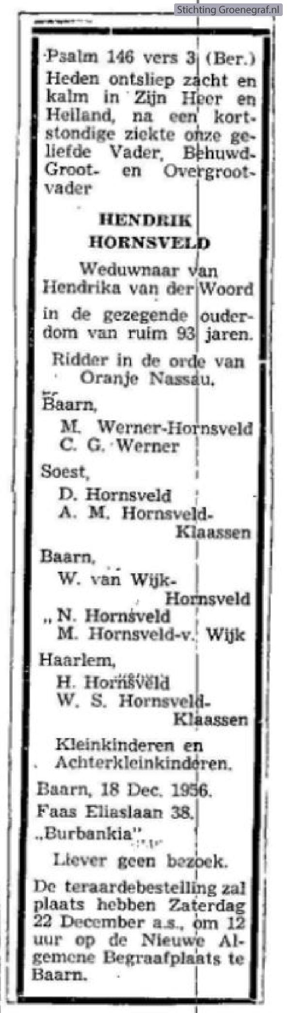 Overlijdensscan Hendrik  Hornsveld
