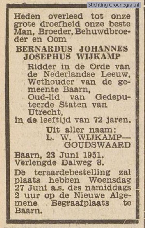 Overlijdensscan Bernardus Johannes Josephus  Wijkamp