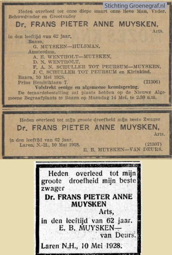 Overlijdensscan Frans Pieter Anne  Muijsken