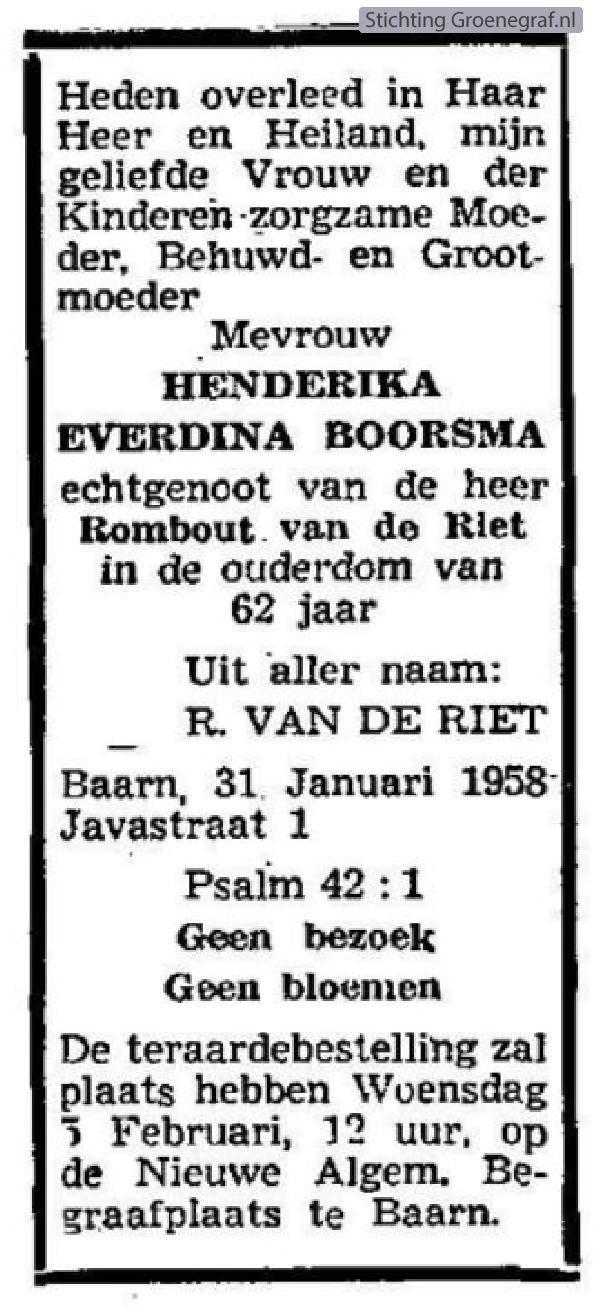 Overlijdensscan Henderika Everdina  Boorsma