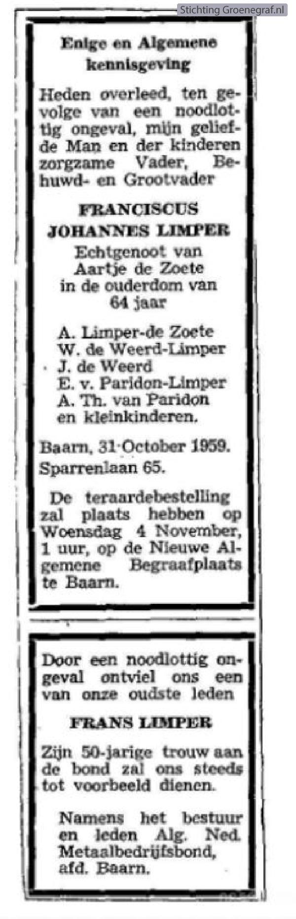 Overlijdensscan Franciscus Johannes  Limper