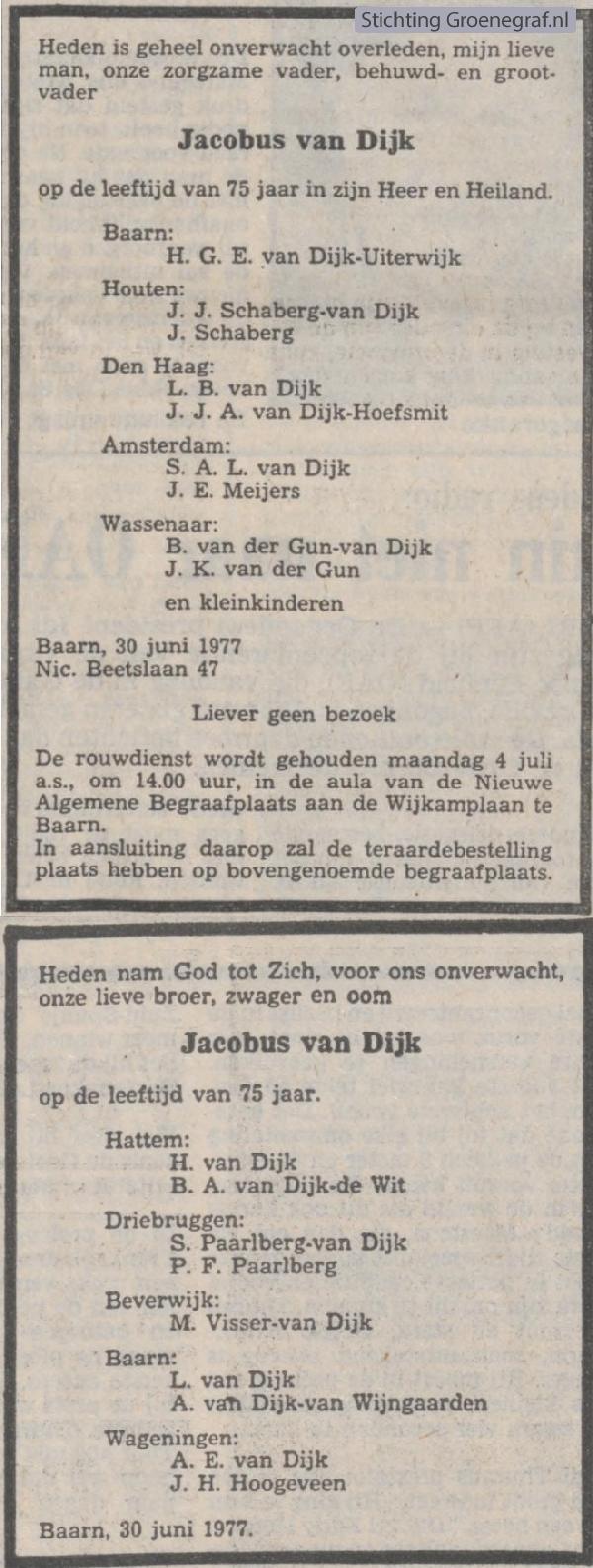 Overlijdensscan Jacobus van Dijk