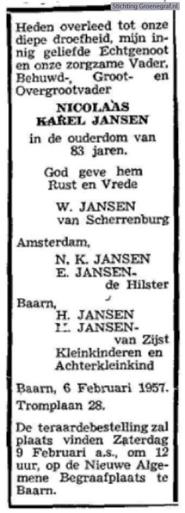 Overlijdensscan Nicolaas Karel  Jansen