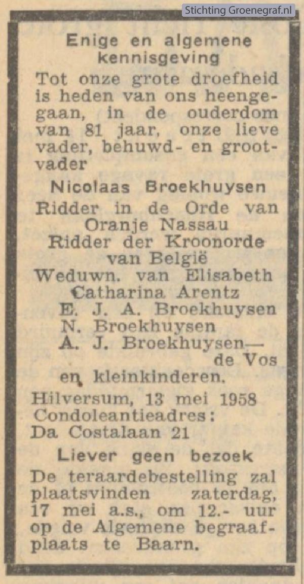Overlijdensscan Nicolaas  Broekhuijsen