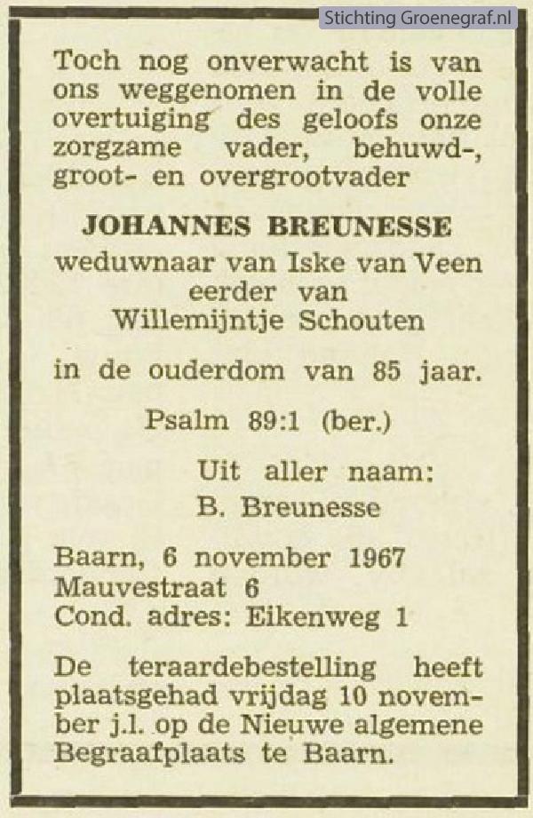 Overlijdensscan Johannes  Breunesse