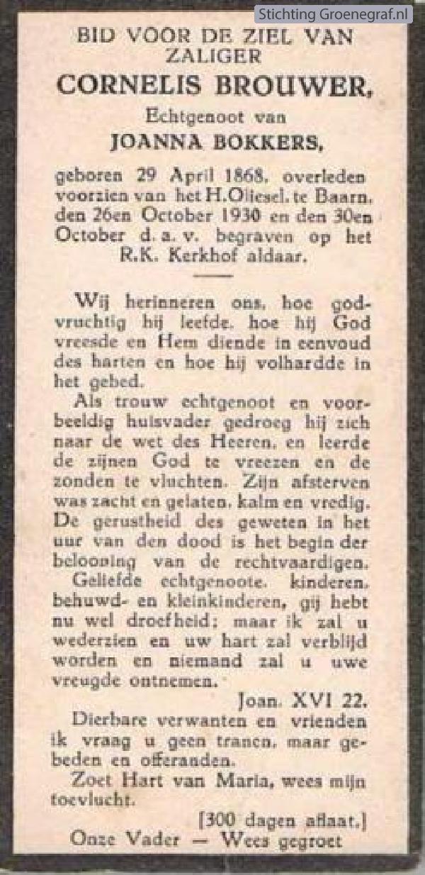 Overlijdensscan Cornelis  Brouwer