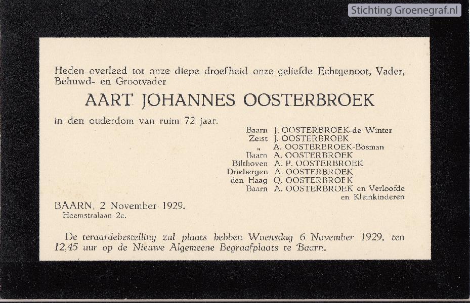 Overlijdensscan Aart Johannes  Oosterbroek