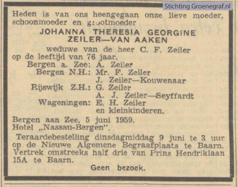 Overlijdensscan Johanna Theresia Georgina van Aaken