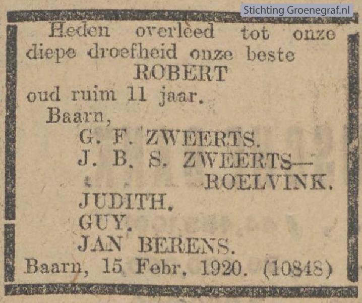 Overlijdensscan Robert  Zweerts
